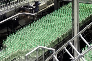 Bottles on a conveyor belt at a packaging facility.
